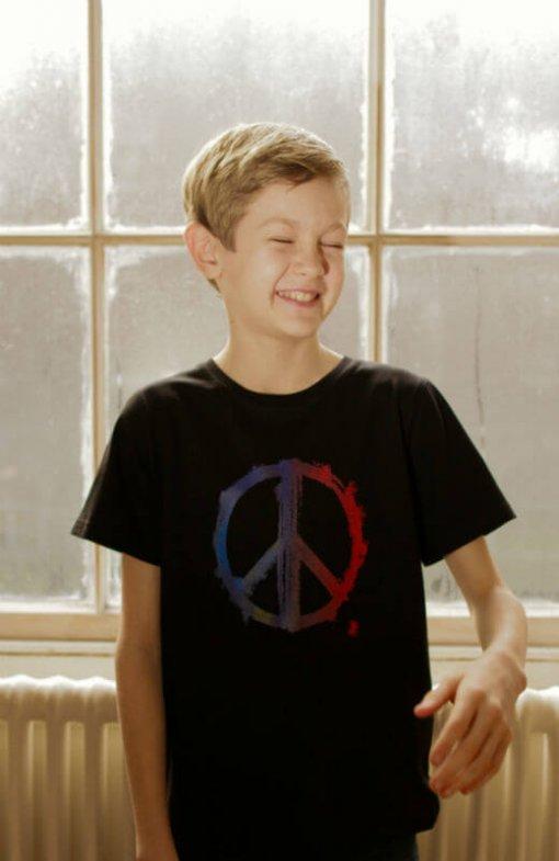Kids T-shirt Peace Black