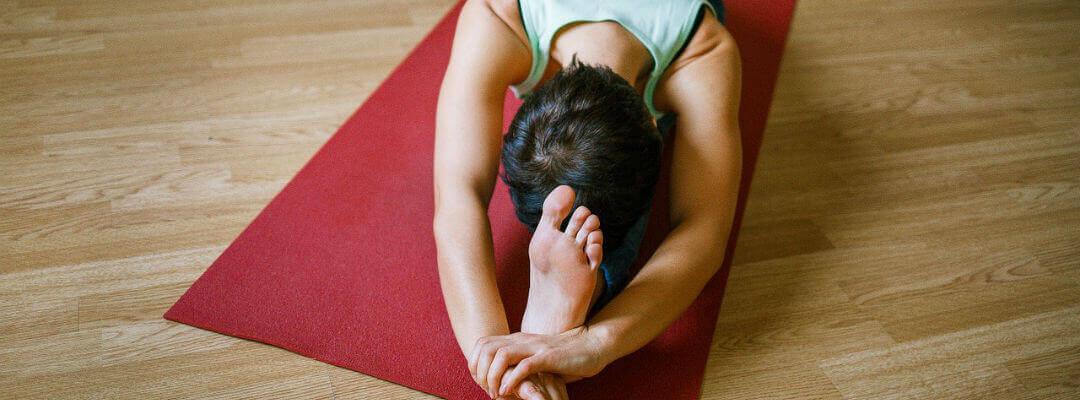 Student practising yoga