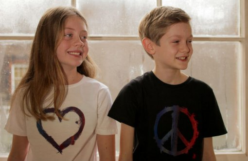 Kids T-shirts Peace Black, Heart White